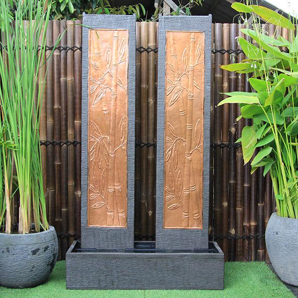 Twin Tower Bamboo Wall Fountain
